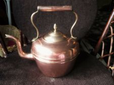 GENUINE LARGE VINTAGE COPPER KETTLE BRASS LID SWAN GOOSE NECK SPOUT ACORN KNOB